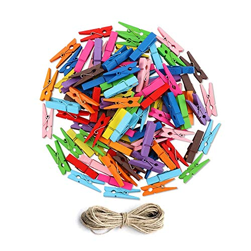 Huacaili Holzklammern, Mini Farbige Natürliche Hölzerne Wäscheklammern Fotopapier Peg Pin Craft Clips mit Jute-Schnur 100 Pcs Wäscherei Ausrüstung -
