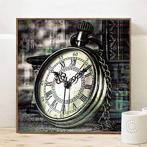 Klassische Taschenuhr Poster Druck Leinwand Wandkunst Malerei Dekorative Leinwand Malerei Wohnzimmer Dekoration Kein Rahmen Malerei 40x40 cm Kein Rahmen PC7666