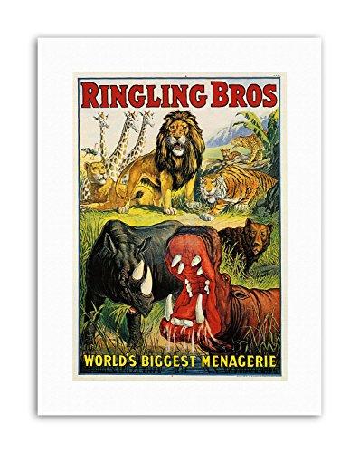 Wee Blue Coo LTD Circus Ringling BROS Lion Hippo Rhino Menagerie USA Poster Canvas Art Prints - Rhino Canvas Print