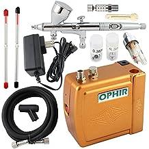 Ophir 3 consejos doble acción aerógrafo Kit 12 V Golden Mini aerógrafo compresor modelo Hobby manualidades