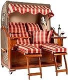 Strandkorb Travemünde in Rot aus Mahagoni mit Bullauge und Liftersystem  für den Garten/Wintergarten oder die Terrasse