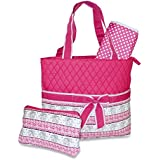 Ever Moda Designer Print Quilted Diaper Bag With Change Pad (Elephant - Pink)
