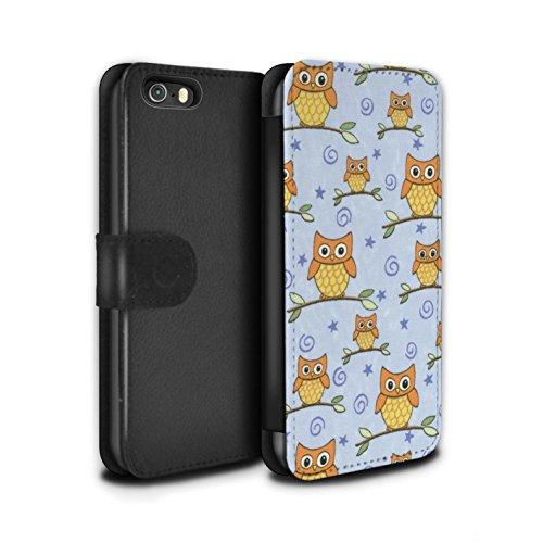 Stuff4 Coque/Etui/Housse Cuir PU Case/Cover pour Apple iPhone 5/5S / Rouge/Blanc Design / Motif Hibou Collection Orange/Bleu