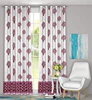 BLOCKS OF INDIA Cotton Grommet Door Curtains With Eyelet, 4 X 7, Red, Pack of 2
