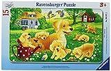 Ravensburger 06377 - Neugierige Welpen - 15 Teile Rahmenpuzzle