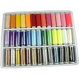 LIHAO une Boîte de 39 Bobines Colorés Fils à Coudre Synthétiques 100 % Polyester Pour Machine à Coudre (Ensemble de 39 Bobines)