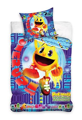 Pacman Parure 100% cotone biancheria da letto reversibile copripiumino 140x 200+ federa 70x 90gioco Pac Man Blu