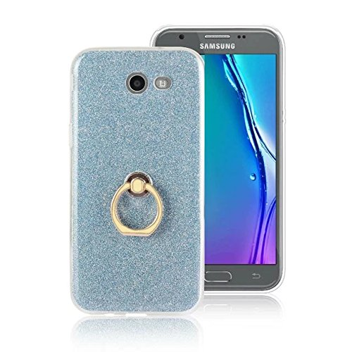 Luxus Bling Sparkle Style Case, Soft TPU [Silikon] Flexible Glitter Rückentasche mit Fingerring Stand [Anti Scratch] [Shockproof] für Samsung Galaxy J5 2017 (J520) ( Color : Black ) Blue