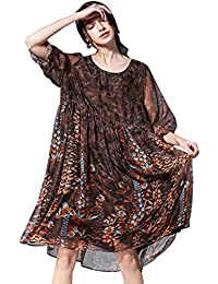KELUOSI Donna Vestiti Collo Rotondo Vestiti Sciolto Casual Chiffon Vestito  Manica Lunga Cerimonia Vestiti b17cdd3ac6e