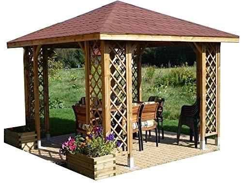 CHECO HOME AND GARDEN Gartenlaube/Holzpavillon, Maße (Grundfläche): 3 x 3 m (mit Dach: 3,5x...