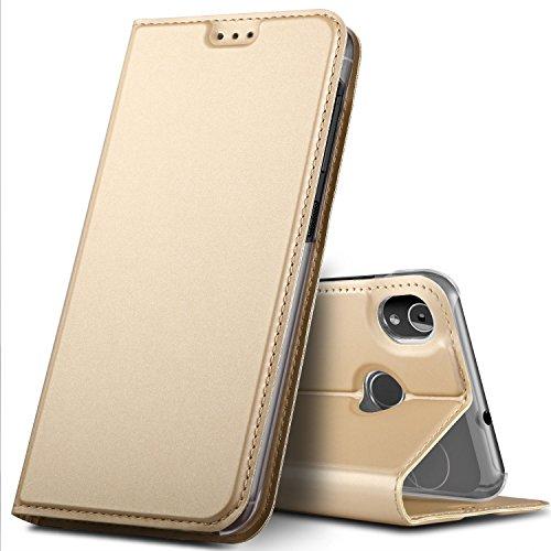 GeeMai Gigaset GS185 Hülle, Premium Gigaset GS185 Leder Hülle Flip Case Tasche Cover Hüllen mit Magnetverschluss [Standfunktion] Schutzhülle handyhüllen für Gigaset GS185 Smartphone, Gold