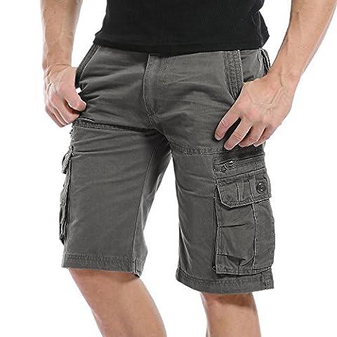 Hakjay Mens Cargo Shorts army shorts-Dark Gray-36