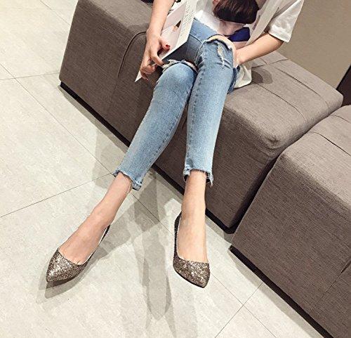 MDRW-Lady/Elegant/Arbeit/Freizeit/Feder Pailletten 7 5 Cm High-Heeled Schuhe Mit Feiner Spitze All-Match Brautjungfern Schuhe Schuhe Gelb 39 (Gelb Brautjungfer Schuhe)