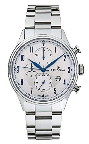 Grovana-Orologio da uomo al quarzo con Display con cronografo e cinturino in acciaio INOX color argento 1192,9132