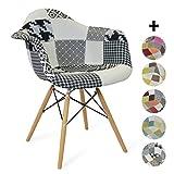 Silla Eames DAW style - Inspiración Charles&Eames- patchwork blanco y negro - 62,5x63x81 - SANTANI MOBILI