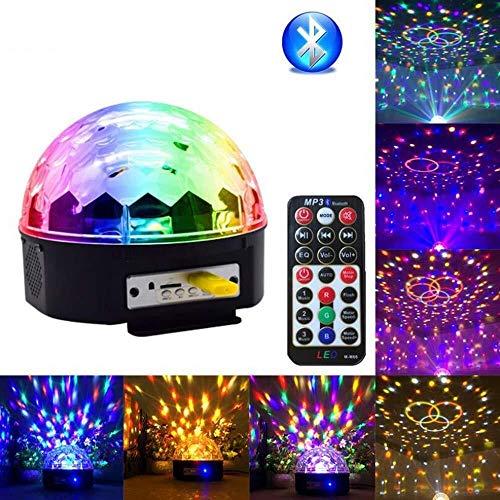 9-Farben-LED drahtlose Bühnenscheinwerfer drehender Kristall Magic Ball Licht mit Fern MP3-Player und USB-Anschluss DJ-Bühne Licht for Family Party Weihnachten Leuchten String