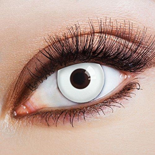 aricona Kontaktlinsen White Spotlight - Jahreslinsen - deckend weiße Kontaktlinsen farbig ohne - Dunkle Elfen Kostüm Kontaktlinsen