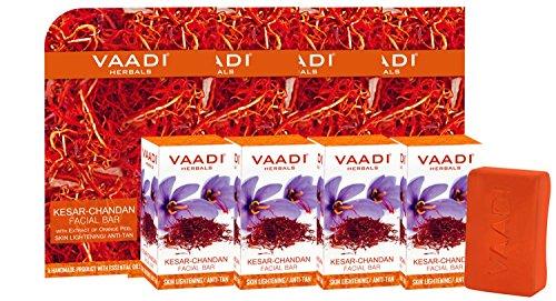 Vaadi Herbals Value Kesar Chandan Facial Bars with Extract of Orange Peel, 25gm x 4