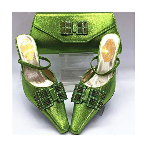 Fuchsia New Italian Ladies Shoes and Bags to Match Set Decorated with Rhinestone Shoe and Bag for Nigeria Party African Shoes Green 39