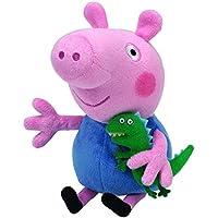 TY 7146130 - Peppa Pig - George, Schwein mit kleinem Dinosaurier