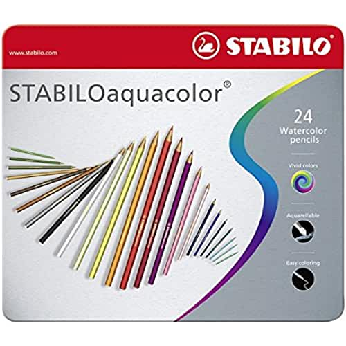 mas dibujos kawaii Stabilo Aquacolor - Paquete de 24 lápices de color acuarelable, multicolor