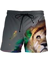 1669a8490a67 Hellomiko 3D Wolf Lion Tiger Print Strand Shorts für Männer Kordelzug Elastische  Taille Taschen Quick Dry Kurze…