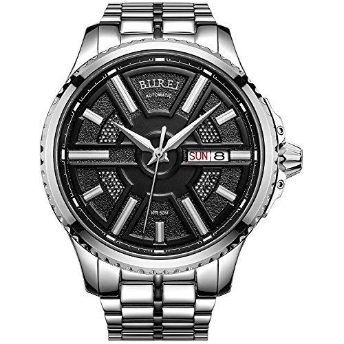 Burei Herren Automatisches Handgelenk Uhren mit schwarzem Zifferblatt Metall Band