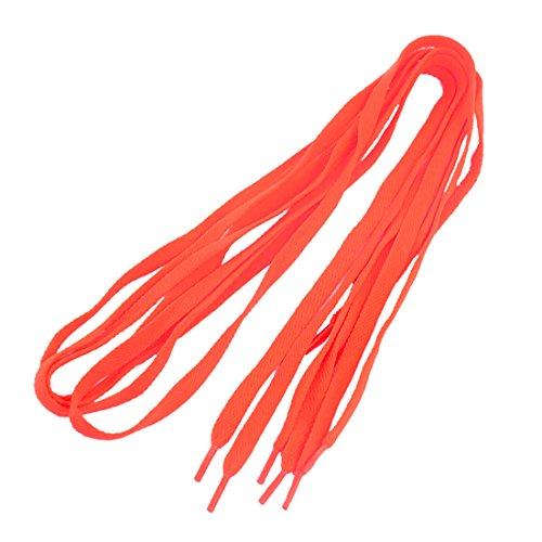 sourcing map Embout en Plastique Lacets Plats Bottes Baskets Chaussures À Lacets 2 Paires Orange - Femmes, Orange, 110 x 0,8cm/ 43 x 3/8\