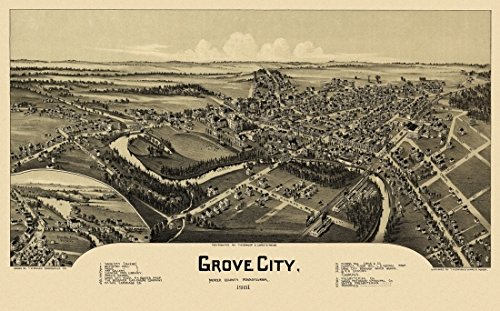 The Poster Corp Vintage Map of Grove City Pennsylvania 1901 Mercer County Kunstdruck (45,72 x 60,96 cm)