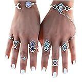 JACKY 8pcs/Set Women Bohemian Vintage Stack Rings Above Knuckle Blue Rings Set