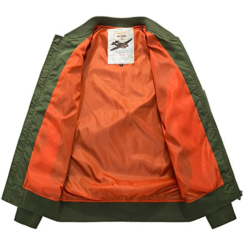YYZYY Homme Classique Blousons Manteaux vol Air Force Aviateur Bomber MA1 Veste Pilot Flight Jacket Coat 16 couleur XS-4XL B8805-ArmyGreen