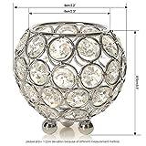 VINCIGANT Silber Schüssel Kristall Kerzenhalter für Couchtisch Dekoration Tabelle Kernstück Hochzeit Feier,Durchmesser 8cm - 6