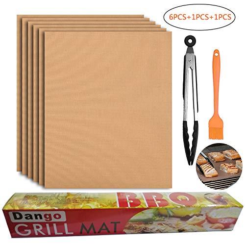 Dango 6 x Grill- und Backmatten + Grillzange + Silikonbürste zum Backen auf Gas-, Holzkohle-, Ofen- und Elektrogrills - wiederverwendbar, antihaftbeschichtet und leicht zu reinigen -