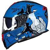 AmzGxp Casque Intégral De Moto, Casque Double Objectif Four Seasons Casque Tout-terrain Universel De Sports De Plein Air, Casque De Protection Complet ABS Monster Blue/Black/Red Confortable