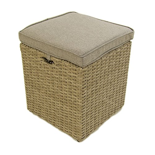 Puff de jardín | Aluminio y rattán sintético Color Natural | Tamaño: 40x40x49 cm | Cojín desenfundable marrón | Portes Gratis