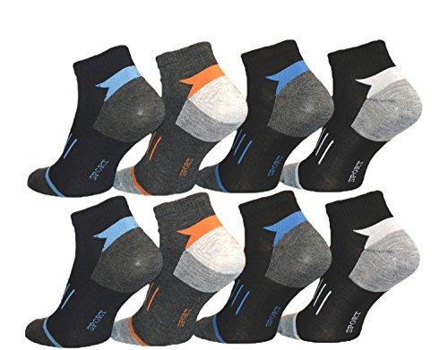 BestSale247 12 Paar Herren Sport Sneaker Socken Füßlinge Baumwolle 39-42 ; 43-46, Blau Schwarz Bunt Weiß, 39-42 -