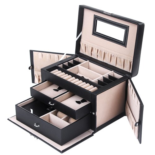 Songmics Jewellery Box Jewellery Box with 2Drawers Mirror JBC121B