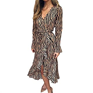 BaZhaHei Chiffon Dress for Women Tiger Pattern Print V Neck Bandage Long Sleeve Beach Casual Midi Dress with Sashes Ankle-Length Loose Dresses Khaki