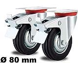 2 Lenkrollen mit Feststeller-Bremse 80mm lenkbar drehbar Stahlfelge Fadenschutz 80 mm Schwenkrolle