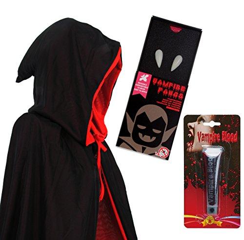 papapanda Vampir Schwarz Rot Kapuze Umhang Zähne Kunstblut Set für Erwachsene Halloween Dracula Kostüm 170cm ()