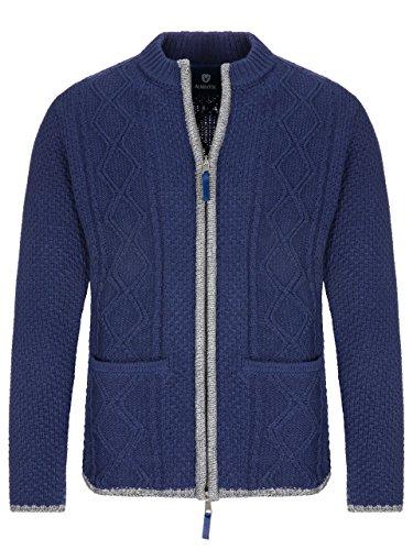 Almbock Strickjacke Herren blau | Strickjacke XL mit Reißverschluss | Herren Trachten Jacke in Blau Größe XL
