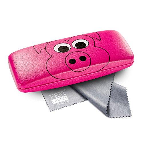 FEFI Kinder-Brillenetui mit lustigen Tiermotiven - Hardcase mit Metallscharnier - Inklusive hochwertigem Brillenputztuch/Mikrofasertuch (Pink)