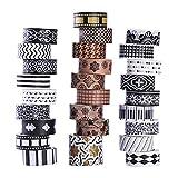 27 Rollen Washi Masking Tape Set, klassisches schwarz-weiß, dekoratives Washi Tape mit...