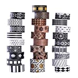 Set da 27rotoli di nastro washi, classici nastri washi decorativi neri e bianchi, design decorativo...