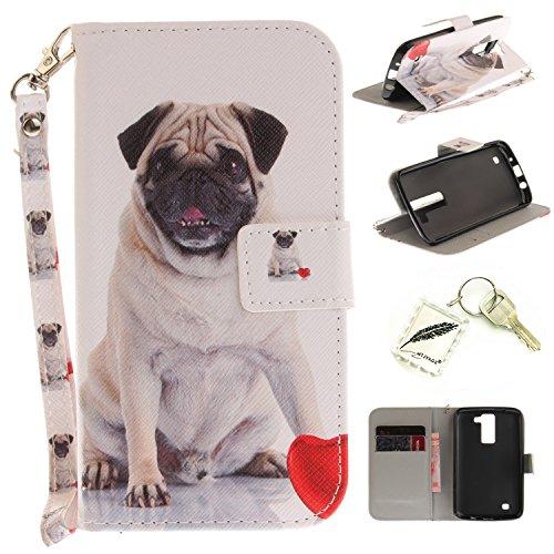 Preisvergleich Produktbild Silikonsoftshell PU Hülle für LG K8 (5 Zoll) Tasche Schutz Hülle Case Cover Etui Strass Schutz schutzhülle Bumper Schale Silicone case+Exquisite key chain X1) #KE (8)