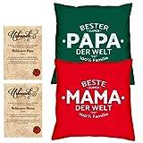 Soreso Design Hochzeitstag Geschenk für Mama und Papa -:- 2 Kissen mit Füllung plus 2 Urkunden im Set -:- Beste Mama der Welt in rot - Bester Papa der Welt in dunkelgrün
