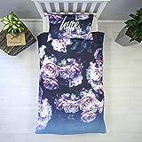 HYPE Bettbezug Bettwäsche-Set | Purple Rose Design mit passenden Kissen | Hi Definition Print | 100% Baumwolle sehr weiches Material, Einzelbett