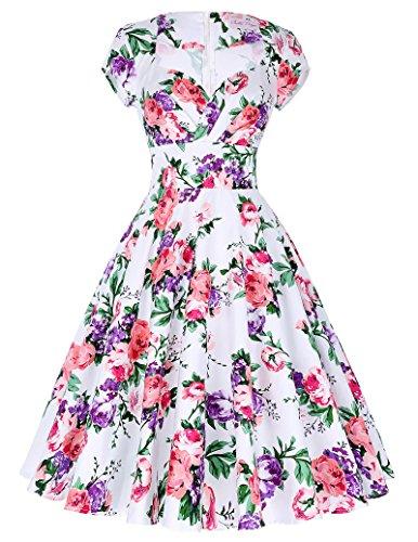 Damen Vintage Retro 1950er Kleid Festliche Kleid Partykleid Hepburn Stil  Farbe8