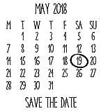 Laser personnalisée Tampon en caoutchouc–Save the Date: Calendrier...