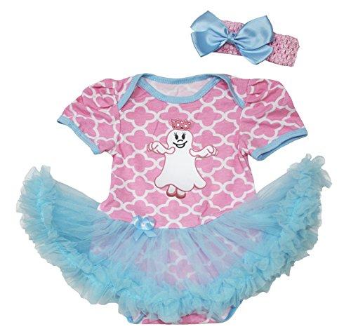 Petitebelle Halloween Dress Ghost Princess Pink Quatrefoil Bodysuit Blue Tutu Romper Nb-18m (12-18Monat) (Ghost Tutu Kostüm)